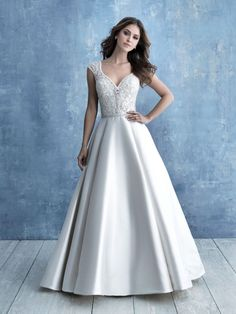Allure Bridals 9710 This cap-sleeved Mikado ballgown features a beaded bodice and low scooped back. Allure Bridesmaid, Bridesmaid Dresses, Prom Dresses, Bridal Gowns, Wedding Gowns, Lace Wedding, Dream Wedding, Wedding Outfits, Bella Bridal