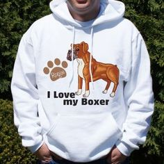 Personalized I Love My Boxer Hooded Sweatshirt