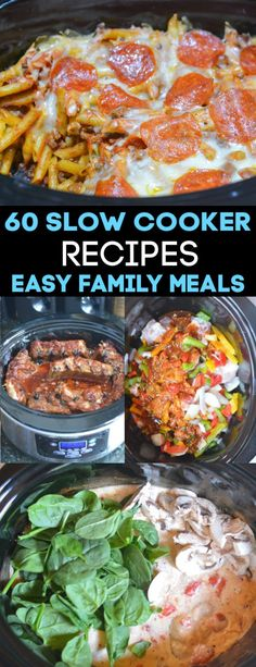 60 Slow Cooker dinners for stress free weeknights. Find easy slow cooker recipes that the kids will love including teriyaki chicken, fall off the bone ribs, cheesy chicken spaghetti and pizza casserole. cooker recipes for kids 60 Slow Cooker Recipes Kid Friendly Crockpot Recipes, Ground Beef Crockpot Recipes, Crockpot Recipes For Kids, Slow Cooker Recipes, Beef Recipes, Chicken Recipes, Slow Cooking, Easy Family Meals, Easy Meals