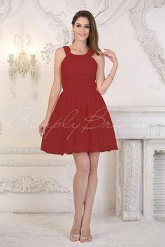 #85182 - Knee-Length High Neck Sleeveless Chiffon Dress- Simply Bridal