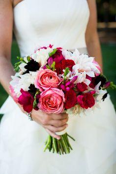 Romantic pink, magenta and ivory wedding bouquet: http://www.stylemepretty.com/2016/08/31/dramatic-romantic-wedding-bouquets/ Photography: Janae Shields - http://janaeshields.com/