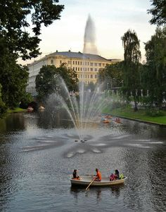 beautiful park next to the Opera House in Riga, Latvia