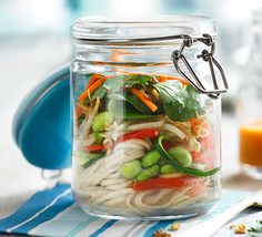 This clever packed lunch is super healthy, with crisp vegetables, wholewheat noodles and a spicy, zingy dressing