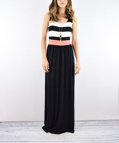 Look at this éloges Black Stripe-Bodice Maxi Dress on #zulily today!
