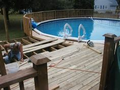 Above Ground Pool Deck Ideas - Bing Images Pool Rails, Pool Fence, Above Ground Pool Decks, In Ground Pools, Pool Deck Plans, Pool Care, Outside Living, Outdoor Living, Intex Pool