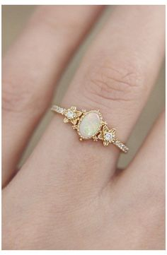 White Opal Ring, Yellow Gold Rings, White Gold, Solid Gold, Blue Gold, Wedding Rings Simple, Unique Rings, Delicate Rings, Gold Engagement Rings