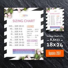 Sizing Chart 18x24 / 8,5x11, Update 2017, Lula Sizing Chart, Size Chart, Sign, Lula Marketing, for Retailer, Instant download, Size Chart 4 by AlexProDesignB2B on Etsy