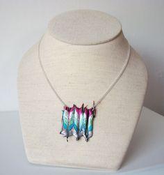 Chevron Plastic Necklace (silver,green,blue) £5.50