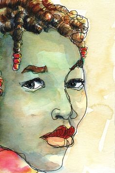 Art Painting Watercolor Portrait Black Girl Jamaican by vhmckenzie