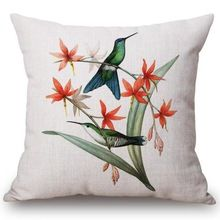 Free Shipping Custom 2016 New Flowers And Birds Printing Linen Cotton Decorative Throw Pillow font b