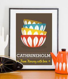 Cathrineholm bowls Mid century poster print  cathrineholm por handz, $19.00