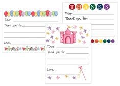 thank you template free Free printable Kid's Thank You card templates Thank You Note Template, Printable Thank You Notes, Printable Cards, Printable Invitations, Free Printables, Notes Template, Thank You Cards From Kids, Thank You Note Cards, Kids Cards