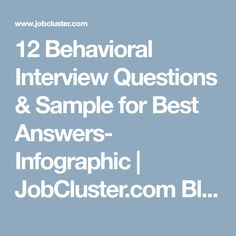 12 Behavioral Interview Questions & Sample for Best Answers- Infographic   JobCluster.com Blog