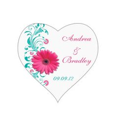 Pink Gerbera Floral Wedding Envelope Seal Sticker