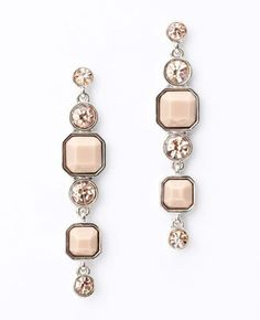 Resin and Crystal Linear Earrings - Ann Taylor