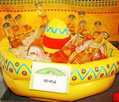 Great idea serving beers in a kiddie pool. #fiesta #beer