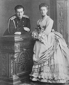 Grand Duchess Maria Alexandrovna with her brother, Grand Duke Vladimir Alexandrovich of Russia, circa 1870s. Children of Alexander II.