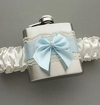 Something Blue Lace Garter & Flask