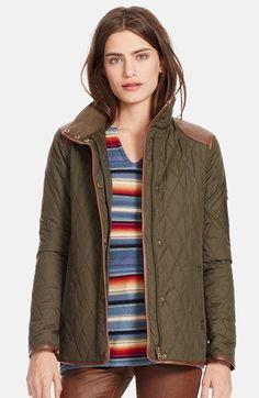 Lauren Ralph Lauren Faux Leather Trim Quilted Jacket (Regular & Petite) | Nordstrom