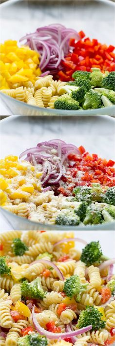 Easy Rotini Pasta Salad with broccoli, colorful peppers, zesty Italian dressing and Parmesan cheese. Make it ahead; the flavor gets even better as it sits!