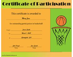 Printable basketball certificate this is a template which can be this printable certificate features a ball in a basket and is to be presented for outstanding yadclub Choice Image