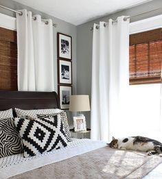 Combinação de palhinha rústica na persiana + cortina com ilhós