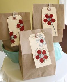 brown paper bags and flower tags