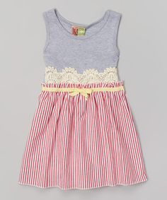 Take a look at this Gray & Red Stripe Babydoll Dress - Toddler & Girls on zulily today!