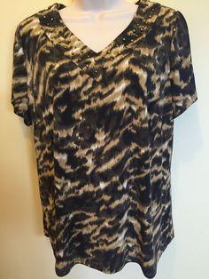 Women's Cato Size 14 / 16 W Blouse Short Sleeve Leopard Print EUC #Cato #Blouse
