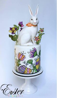 Handpainted Easter bunny cake