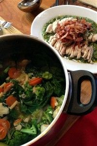 "Minestrone with Poached Chicken & Salsa Verde ... p.206 ""15 Minute Meals"" by Jamie Oliver"