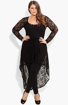 City Chic 'Lace Armour' High/Low Tunic (Plus Size) available at #Nordstrom #plussize#plussizeoutfit
