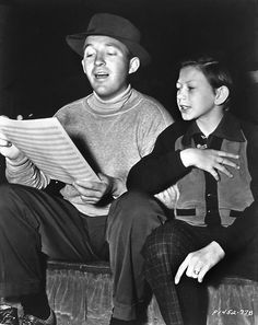 Bing Crosby singing with a young Donald O'Connor; wow, an amazing shot from history.