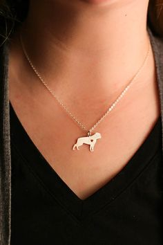 American Bulldog Necklace - Mastiff - Dog Necklace - Sterling Silver Dog Charm - Dog Mom Gift - Personalized Pet Gift - Dog Loss