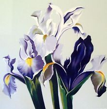 "LOWELL NESBITT FAMED AMERICAN ARTIST ""THREE JAPANESE IRIS"" MONUMENTAL SERIGRAPH"