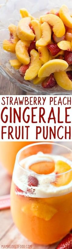 already made this twice!   it's SO GOOD!   Strawberry Peach Ginger Ale Party Punch with Sherbet Recipe! #punch #sherbetpunch #cocktail #partyrecipe