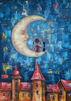 Trendy Painting Moon And Stars Girls 34 Ideas Good Night Moon, Beautiful Moon, Moon Art, Whimsical Art, Cute Illustration, Stars And Moon, Cat Art, Painting Inspiration, Watercolor Art