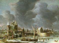 Jan Abrahamsz van Beerstraten - Winters stadsgezicht van Amsterdam met de Regulierspoort