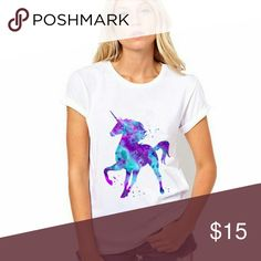 Microfiber unicorn t-shirt Cute galaxy unicorn tee made of soft polyester fabric. Size fits small. New! Tops Tees - Short Sleeve