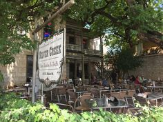 an awesome German restaurant in Fredericksburg, Texas with a killer outdoor patio and live music.