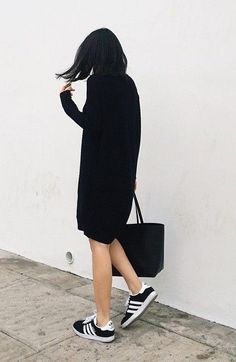 Black Adidas shoes with tunic sweater