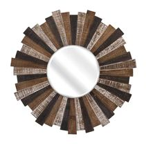 Wood Starburst Mirror - IMAX rustic style to any home with this multi-color wood starburst wall mirror. 88698 Features: Warm, natural wood tones add warmth and texture to your spaceSkillfully handcrafted, each mirror has unique and individual var Wood Mirror, Beveled Mirror, Beveled Glass, Mirror Mirror, Mirror Ideas, Wood Wall, Starburst Mirror, How To Clean Mirrors, Mirror Shapes