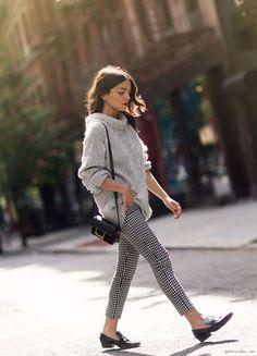 Cozy is always stylish. Anastasia Nairne wears Tibi's Bubble Pullover on Garance Dore.