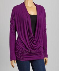 Another great find on #zulily! Celeste Purple Deep Drape Top - Plus by Celeste #zulilyfinds