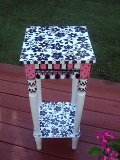 Hand Painted 12 x 12 Accent  Side Table - pink black flowers - pom pom trim on Etsy, $165.00