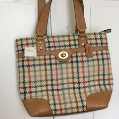 """NWT tattersall plaid wool Coach bag Beautiful wool plaid bag with leather bottom and trim and straps. Plaid colors red, blue, green, brown on cream background. Leather light caramel color. Two large pockets on outside. Inside one zipper pocket and two for cell and other. 13"""" x 11"""" x 3-1/2"""". Two leather straps 10"""" high Coach Bags"""