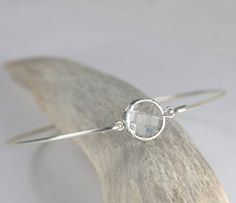 Clear Quartz and Sterling Silver Bangle Bracelet, Sterling Silver Bracelet, Crystal Bangle Bracelet, April Birthstone Bracelet  Ask a Question $17.00 USD. CA