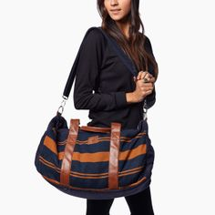 the Pike - Inspired by our love for adventure, this weekender bag is essential for a getaway or a long journey. Perfect as a carry on or travel bag, this weekender is a must-have. Made in Peru, 'the Pike' will help you be ready for anything! Vegan Clothing, Vegan Fashion, Navy Stripes, Bag Making, Vegan Leather, Shopping Bag, My Style, Womens Fashion, Weekender