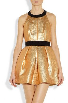 Miu Miu Crepe-trimmed metallic brocade dress