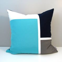 Navy Blue & Turquoise Color Block Pillow constructed with Sunbrella indoor outdoor fabrics. Colorfast, stain resistant & machine washable!  #colorblock #pillow #pillows #outdoor #home #garden #outdoor #decor #summer #patio #mazizmuse